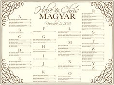 wedding seating chart.  Use this board that you print locally instead of making escort or place cards at the last minute.  great idea of wedding receptions.