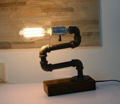 47.49$  Watch more here  - Loft Living Designer Lifestyle Cage Water Pipe Desk Top Table Lamp LED Antique Steel Piping Retro Nostalgic