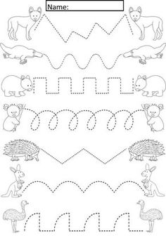 Animals Tracing Lines-Aktivitt fr f. -Australian Animals Tracing Lines-Aktivitt fr f. - Dinosaur Preschool Math and Literacy No Prep worksheets and activities. A page from the unit: pre-writing tracing practice. Color Worksheets For Preschool, Animal Worksheets, Preschool Writing, Animal Activities, Kindergarten Activities, Preschool Activities, Alphabet Tracing Worksheets, Children Activities, Free Preschool