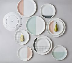 Grid Tableware. Each plate is lovingly made and decorated by hand in a small traditional factory in Stoke-on-Trent using ceramic decals onto the finest bone china.