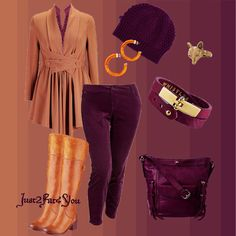 Plum and Caramel Plus Sized Outfit for Fall