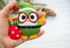 Conjunto de Navidad buho adornos decorativos buho Santa árbol