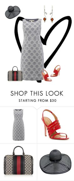"""""""Red Garnet Earrings"""" by bellastreasure ❤ liked on Polyvore featuring White Stuff, Calvin Klein and Gucci"""