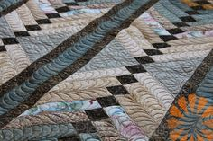 Custom Machine Quilting Feathers by Natalia Bonner