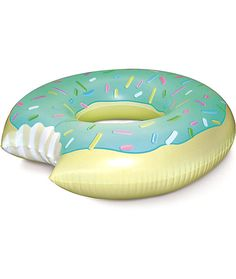 Enjoy fun times in the pool with a mint 4 foot wide donut pool float with a bite out of it made from extra thick vinyl for durability.