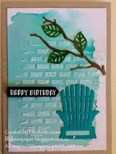 I discovered this technique quite by accident and I have used it exclusively since for colouring the embossing paste I use. Stampin Up Katalog, Beach Cards, Birthday Cards For Men, Male Birthday, Baby Kind, Card Tutorials, Masculine Cards, Card Kit, Creative Cards