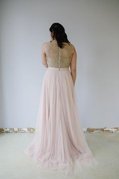 Candid Skirt and Nesha Top Back Flowy A-line layered soft tulle skirt in blush