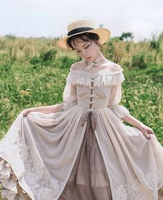 Jewelry in Sunrise -Days to Remember- Vintage Classic Lolita Jumper Dress,Homecoming dresses,dresses · HotProm · Online Store Powered by Storenvy Kawaii Fashion, Lolita Fashion, Cute Fashion, Vintage Fashion, Rock Fashion, Pretty Dresses, Beautiful Dresses, Mode Lolita, Lolita Style