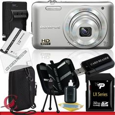 Olympus VG-160 Digital Camera (Silver) 32GB Package 6 by Olympus. $144.89. Package Contents:  1- Olympus VG-160 Digital Camera (Silver) w/ All Supplied Accessories 1- 32GB SDHC Class 10 Memory Card   1- USB Memory Card Reader  1- Rechargeable Lithium Ion Replacement Battery  1- Weather Resistant Carrying Case w/Strap  1- Pack of LCD Screen Protectors  1- Camera & Lens Cleaning Kit System  1- Mini Flexible Table Top Tripod 1- Memory Card Wallet    1- Rapid External Ac/Dc Charger Kit