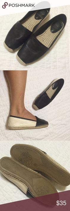 Vince Camuto Leather Espadrilles Beautiful black leather and hemp Vince Camuto espadrilles flats. So super comfortable and stylish, can go with just about anything. Excellent used condition. Says size 7 but can fit a 7.5 comfortably so I've listed it as such. Vince Camuto Shoes Flats & Loafers