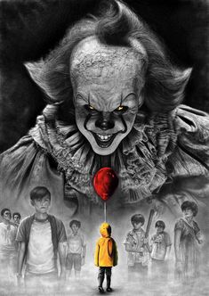 Stephen King IT 2017 PENCIL DRAWING Pennywise vs Losers Club Video: A tribute drawing to my favorite author, my favorite book . Stephen King IT 2017 Pennywise vs Losers Club Horror Movie Posters, Horror Movie Characters, It Horror Movie, It 2017 Pennywise, Pennywise The Dancing Clown, Creepiest Horror Movies, Scary Movies, Stephen Kings, Stephen King Movies