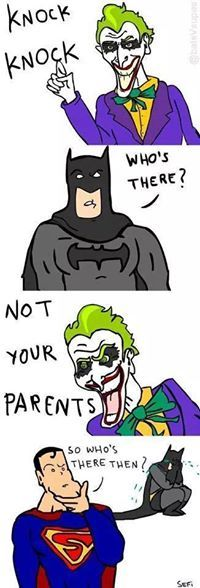 I mean, if we're Flashpoint, that Joker right there is his mother. Funny Batman Memes, Funny Comics, Dc Comics, Funny Memes, Dc Memes, Marvel Memes, Marvel Dc, Batman The Dark Knight, Batman And Superman