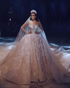 Luxury Champagne Dubai Wedding Dress Ball Gown Appliques Beaded Long Sleeves Round Neck Court Train Bridal Gowns With Veil - Wedding Dresses Princess Wedding Dresses, Dream Wedding Dresses, Bridal Dresses, Wedding Dress Princess, Princess Gowns, Crystal Wedding Dresses, Princess Bridal, Bridesmaid Dresses, Ball Gown Wedding Dresses
