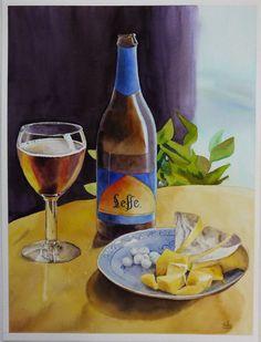 "Watercolor still life ""Belgium breakfast"""