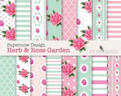 "25% OFF SUMMER SALE. Shabby Chic Digital Paper Pack. ""Herb & Rose Garden"" Pink, Mint - Sage Papers . Roses. Stripes,Polka Dots"