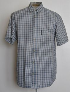 Columbia Mens Large Shirt Classic Fit Blue Plaids & Checks Cotton Short Sleeve #Columbia free shipping auction starting at $10.99