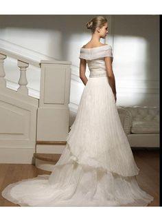 Latest Wedding Dresses   Discount Wedding Dresses   New A-line Off-the-Shoulder Sashes/Beading Chapel Train Elegant Natural Tulle Wedding Dresses WE2379