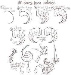 Manga Drawing Tips how i draw horns by kinsae - Demon Drawings, Creature Drawings, Art Drawings Sketches, Animal Drawings, Art Reference Poses, Drawing Reference, Drawing Tips, Poses References, Drawing Base