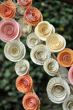 Wedding Garland Paper Flowers Orange, Ivory Peach Pink Book Pages 22 feet. $120.00, via Etsy.