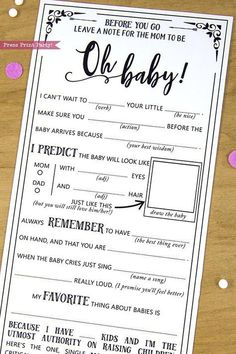 Baby Shower Mad Libs Advice Card, Boho Baby Shower, Gender Neutral, Mom-to-be Funny Advice Card, Bab Boho Baby Shower, Baby Shower Mad Libs, Shower Bebe, Baby Shower Games Printable, Baby Shower Checklist, Baby Shower Sayings, Baby Shower Co Ed, Baby Shower Games Funny, August Baby Shower