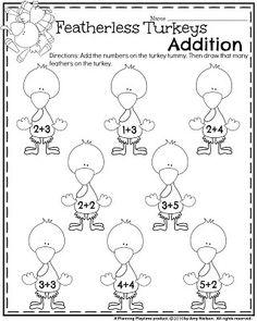 Thanksgiving Kindergarten Worksheets - Turkey Feathers add and draw. Turkey Kindergarten, Kindergarten Addition Worksheets, Seasons Worksheets, Kindergarten Math Activities, Kindergarten Teachers, Kindergarten Worksheets, Thanksgiving Worksheets, Thanksgiving Preschool, Thanksgiving Videos