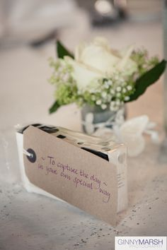Ginny Marsh Photography, weddings, Mercure Bush Hotel, Farnham, table decorations, favours, wedding disposable camera