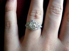vintage platinum + diamond engagement ring