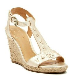 6f2e354e71a8  178 JACK ROGERS Willa Gold Wedge Sandals sz 9 M  JackRogers  wedges