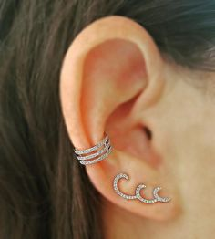 Swirl and Twirl - Swirl Ear Climber and Three Row Ear Climber both in diamonds and 14K white gold from the EarStylist by Jo Nayor. www.EarStylist.com