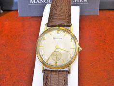 Vintage 1956 Bulova Rolled Gold Plate Men's Watch w/ Leather Band! in Jewelry & Watches, Watches, Parts & Accessories, Wristwatches Bulova Watches, Omega Watch, Watches For Men, Jewelry Watches, Plates, Band, Leather, Accessories, Vintage