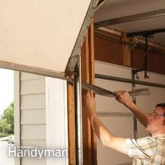Make weather-tight garage door seals, replace rotted trim with maintenance-free vinyl and clean up a rusty track. Do it yourself and save a bundle. Garage Door Bottom Seal, Garage Door Trim, Garage Door Insulation, Wood Garage Doors, Garage Shed, Garage Door Repair, Garage Door Opener, Diy Garage, Garage Ideas