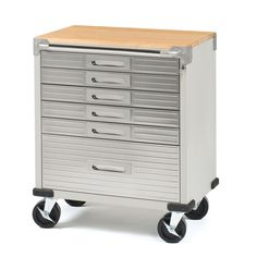 "Steel 6-drawer Metal Rolling Storage Cabinet Tool Box Wood Workbench 5"" Casters"