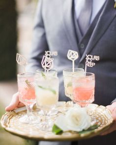 To fully embrace the personality behind their drinks, many couples go the extra mile and spice up their unique libations with memorable add-ons, like monogrammed cocktail napkins and straws. Wedding Food Bars, Food Truck Wedding, Wedding Food Stations, Wedding Reception Food, Wedding Appetizers, Wedding Desserts, Wedding Coasters, Stir Sticks, Signature Cocktail
