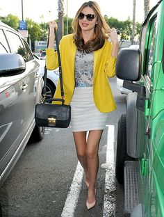 Happy hour style: yellow blazer + floral top