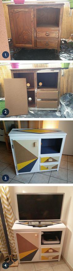 Recyclage et relooking d'un meuble acheté chez Emmaüs. DIY, meuble en bois, meuble TV, ponçage, peinture