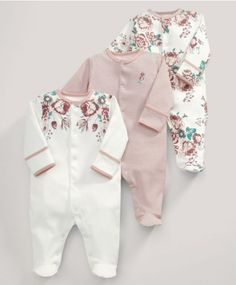 All-in-Ones (3 Pack) Vintage Floral Print sleep suits- size 0-3 or 3-6 months