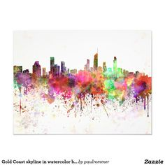Gold Coast skyline in watercolor background Photographic Print Watercolor Background, Gold Coast, Paper Design, Decorative Accessories, Skyline, Artist, Artwork, Prints, Forests
