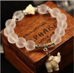 Natural Matte Crystal Sweet Elephant Bracelet
