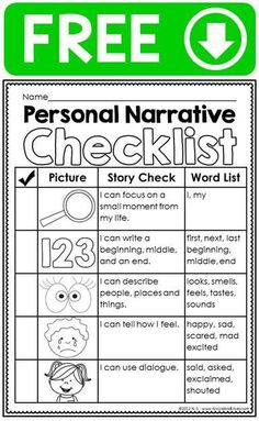 Personal narrative ideas chart, writing checklist, graphic organizer & differentiated primary lined stationary for beginner writers. It is a simple checklist students can use to make sure they included all the parts of a personal narrative. Writing Strategies, Writing Lessons, Writing Skills, Writing Process, Writing Ideas, Pre Writing, Kindergarten Writing, Teaching Writing, Writing Activities