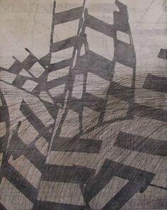 'Density' (2009) by Australian-born, Vermont-based artist & printmaker Sarah Amos. Collograph, 39 x 30 cm. via the artist's site