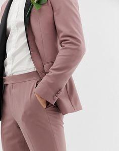 ASOS DESIGN wedding super skinny tuxedo suit pants in mauve Tuxedo Pants, Tuxedo Suit, Suit Pants, Super Skinny, Skinny Fit, Fashion 2020, Fashion Online, Asos, Blazers For Men