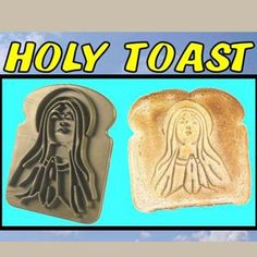 """#SmileGifts Want to really put the """"wonder"""" in Wonderbread? Then check out this incredibly useless new kitchen accessory! Holy Toast is a """"bread embossing device"""" that turns an ordinary slice of bread into an inspirational breakfast treat! Holy Toast make from the #Easter breakfast a spiritual event... http://www.buy-gifts.us/2012/02/holy-toast/ $4.95"""