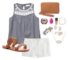 """""""summer days read d!!"""" by morganmestan ❤ liked on Polyvore featuring J.Crew, Tory Burch, Jack Rogers, Becca, beautyblender, Too Faced Cosmetics, Brooks Brothers and Kendra Scott"""
