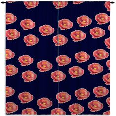 "Navy Blue Floral Window Curtains - ""Blooming Stripes"" Horse Collection."