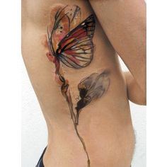 Abstract Flower Butterfly Tattoo