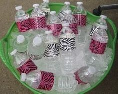 animal print duct tape around water bottle labels for jungle party!!!  (minus the pink)