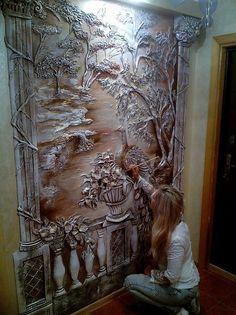 Mural Wall Art, Mural Painting, Wall Sculptures, Sculpture Art, Cardboard Sculpture, Plaster Art, Wall Design, New Art, Wall Photos