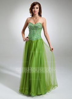 Prom Dresses - $176.99 - A-Line/Princess Sweetheart Floor-Length Satin Tulle Prom Dress With Beading (018016346) http://jjshouse.com/A-Line-Princess-Sweetheart-Floor-Length-Satin-Tulle-Prom-Dress-With-Beading-018016346-g16346
