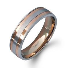 Simon G. 14K White and Rose Gold Two-Tone Men's Wedding Ring with Raised Satin Finish Bands and High Polish Rose Gold Bands. Style LG104