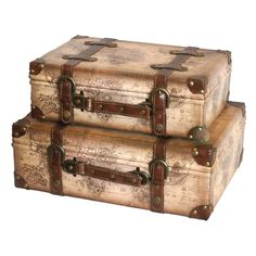 Vintage Ideas Old World Map Leather Vintage Style Suitcase with Straps, Set of 2 - Quickway Imports Inc. is an importer of wholesale home decor, home furnishings, and garden decor. Vintage Suitcases, Vintage Luggage, Vintage Maps, Upcycled Vintage, Vintage Suitcase Wedding, Old Luggage, Travel Luggage, Vintage Gifts, Luggage Bags
